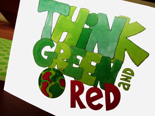 Think Green Hand-Lettered Christmas Card Set