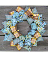 A New Country Blue Fabric Wreath - $38.75