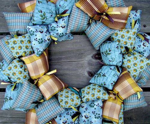 A New Country Blue Fabric Wreath