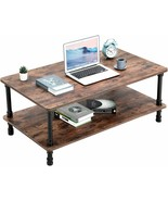 Double-Layer Coffee Tea Table Computer PC Laptop Wood Rustic Desk Living... - $179.98