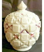 Westmoreland Milk Glass Old Quilt Pattern Candy Dish & Lid Hand Painted ... - $37.40