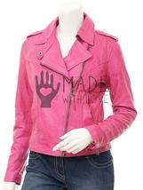 Women's Pink Leather Biker Hand Stitched Jacket For Ladies Fashion Wear  - $149.99+