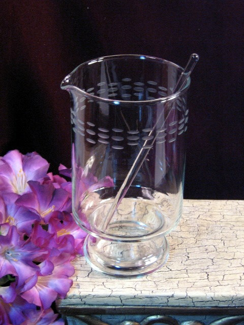 Princess House Crystal Heritage Beverage Cocktail Stirrer Mid Century Glass