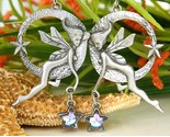 Vintage Winged Fairy Faerie Earrings Dangling Hoops Star Silver Pewter