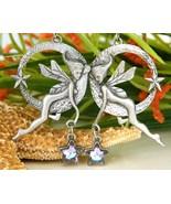 Vintage Winged Fairy Faerie Earrings Dangling Hoops Star Silver Pewter - $24.95