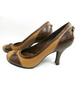 Franco Sarto Brown Leather Faux Croc Embossed Pumps  Size US 6.5 M - $12.73