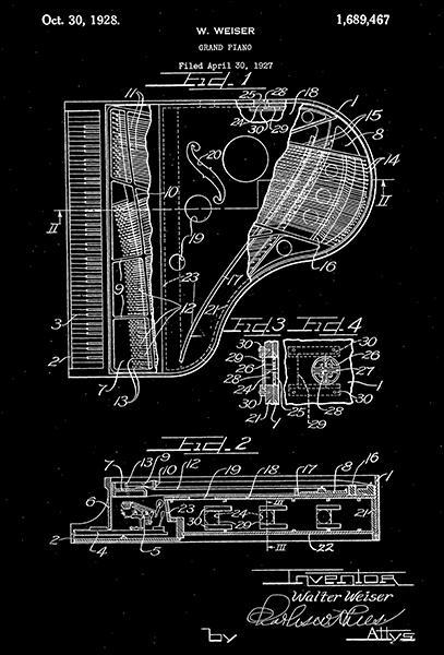 Primary image for 1928 - Grand Piano - Musical Instrument - W. Weiser - Patent Art Poster