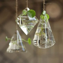Glass Geometric Shape Hanging Vase Flower Water Plant Container Pot Indoor - $7.08