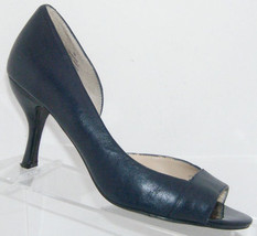 Nine West Query blue leather round peep toe d'orsay slip on heels 6M 5996 - $30.53