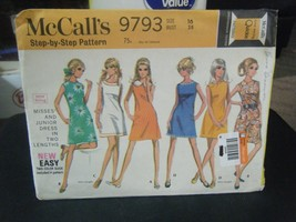 McCall's 9793 Misses Dress in 2 Lengths Pattern - Size 16 Bust 38 - $7.56