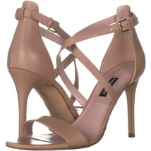 Nine West Mydebut Dress Heel Sandals 396, Light Natural Leather, 9.5 US - $28.79