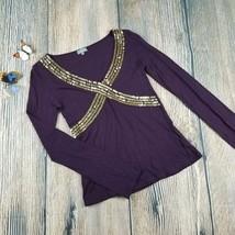 NAF NAF size S womens dark purple long sleeves sequined blouse top EUC (... - $8.00