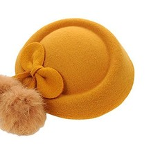 Wool Fedora Hat Small Hat Hairpin Side Clip Hair Accessories, Yellow Cravat