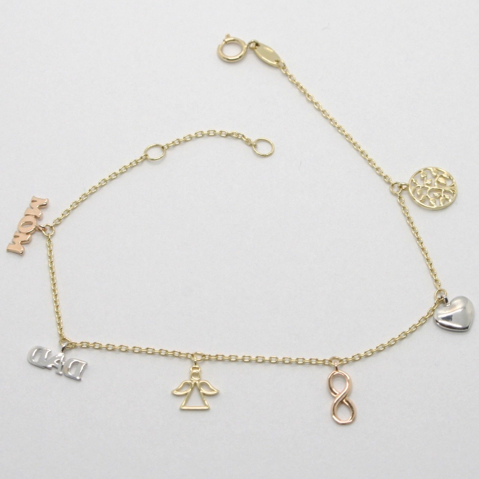 18K YELLOW ROSE GOLD FAMILY BRACELET, MOM, DAD, ANGEL, INFINITY, HEART LIFE TREE