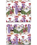 Quilt Fabric 2 Fat Quarters, Red Hat Society Women at Tea with Cat,Dog,R... - $7.07