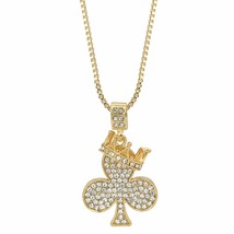 "Men's 14k Gold Plated Crown Clover Hip Hop Pendant 24"" Inches Box Neckla... - $10.88"