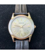 Edison Ladies Watch -  Gold-Tone Dial and Hands, Silver Bezel, Black Strap - $15.00