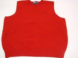 Vtg 90s Polo Ralph Lauren Lambs Wool Sweater Vest XL Red V-Neck Sport Sa... - $15.88