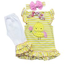 Cute Kids Clothing Toddler Girl/Girls Easter Chick Outfit Ruffled Capri ... - $24.99