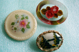 VTG RETRO LOT OF 3 GOLDTONE METAL LUCITE PAINTED MOTHER OF PEARL AVON PI... - $27.72