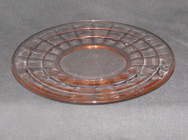 """Pink Block Optic 8 1/4"""" Luncheon Plates ~ Anchor Hocking ~ etched floral - $7.69"""