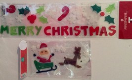 LOT OF 2 MERRY CHRISTMAS And SANTA, SLEIGH AND REINDEER Window Clings - $5.94