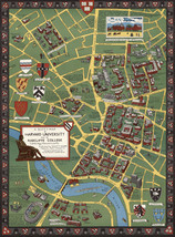 "1935 Harvard University Radcliffe College Pictorial Map Cambridge 11""x15... - $12.38"