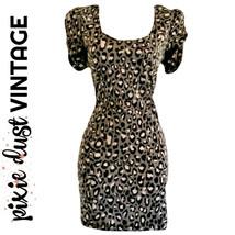 Vintage Fitted Dress Leopard 80s Animal Grey Black Body Con Bow Mini Siz... - $24.21