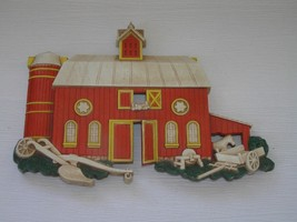 Vintage Homco Made in USA Plastic Red Barn Silo Horse & Implements Wall Hanging  - $8.59