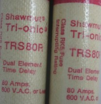 LOT OF 2 GOULD SHAWMUT TRIONIC TRS-80-R DUAL ELEMENT TIME DELAY FUSE 80AMP image 2