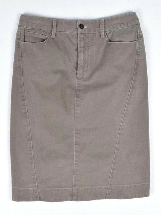 Primary image for PERUVIAN CONNECTION Pencil Skirt Taupe Cotton Midi Straight Womens 2 Waist 27""