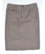 PERUVIAN CONNECTION Pencil Skirt Taupe Cotton Midi Straight Womens 2 Wai... - $14.84