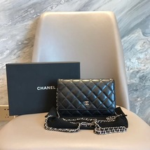 AUTH CHANEL Black Lambskin WOC Wallet on Chain WOC Bag SHW
