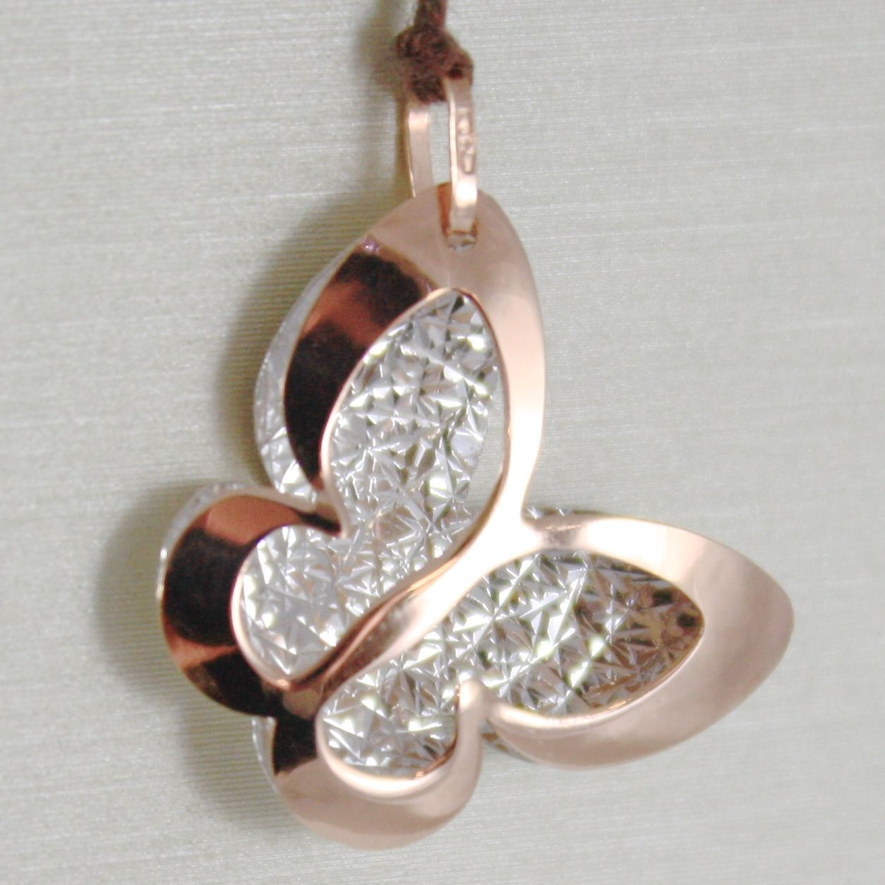 18K ROSE & WHITE GOLD BUTTERFLY PENDANT, CHARMS, FINELY WORKED, MADE IN ITALY