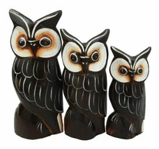 Balinese Wood Handicraft Brown Forest Great Horned Owl Family Set of 3 F... - $23.99