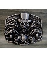 Ride Free Die Free HOWDY Skeleton MOTORCYCLE Belt Buckle Souvenir Collector - $14.95