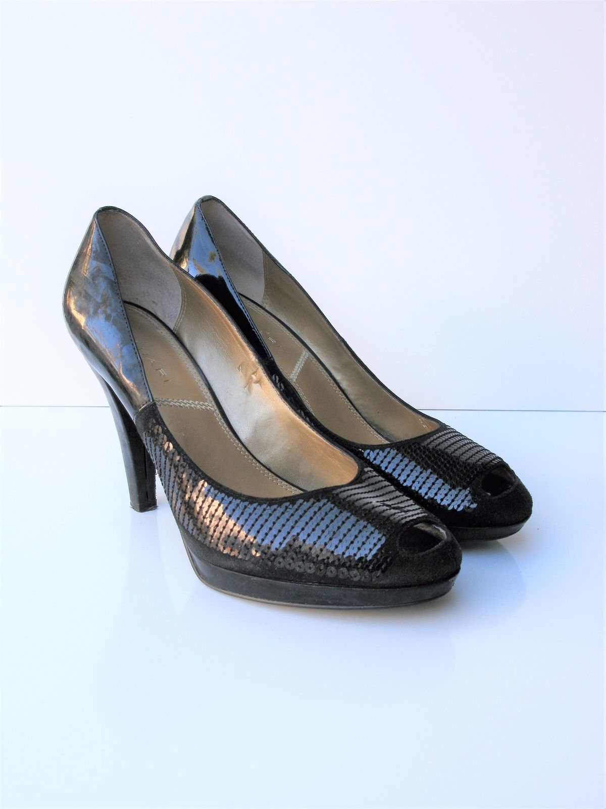 Pumps Heels Retro Tahari Hanna Sequined Open Toe 40s Style Pump 10 $225 MSRP