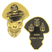 "NAVY MASTER CHIEF PETTY OFFICER  MCPO SKULL BORN 1893  2.5"" CHALLENGE COIN - $16.24"