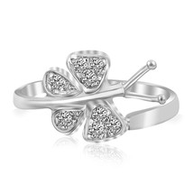 Sterling Silver Rhodium Finished Butterfly Toe Ring with White Cubic Zirconia - $24.74