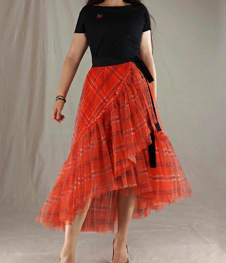 Women High Waist Wrap Tulle Skirts Red Plaid Wrap Skirt Tulle Party Formal Skirt
