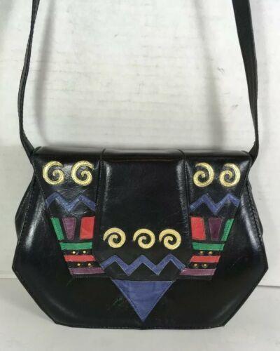 Margaret Jerrold Vtg Small Black Leather Geometric Print Crossbody Shoulder Bag