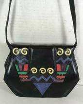 Margaret Jerrold Vtg Small Black Leather Geometric Print Crossbody Shoul... - $29.09