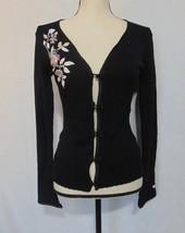 Worthington Womens Cardigan Sweater Black Embroidered Flowers Toggle Car... - $10.89