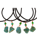 Unisex Arizona Kingman Turquoise Pendant Necklace Rubber Cord Healing Cr... - €17,46 EUR