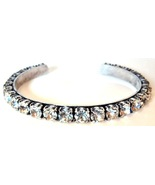 J Crew Marissa Cuff Silver Clear Crystal Bangle Bracelet Swarovski New NWT - $14.95