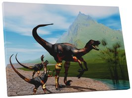 "Pingo World 0722QA1MTTS ""Raptor Dinosaurs Children Kids"" Gallery Wrapped... - $43.51"
