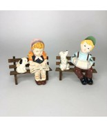 """Darling little boy and girl on benches with their pets  4"""" x 4"""" each - $19.80"""