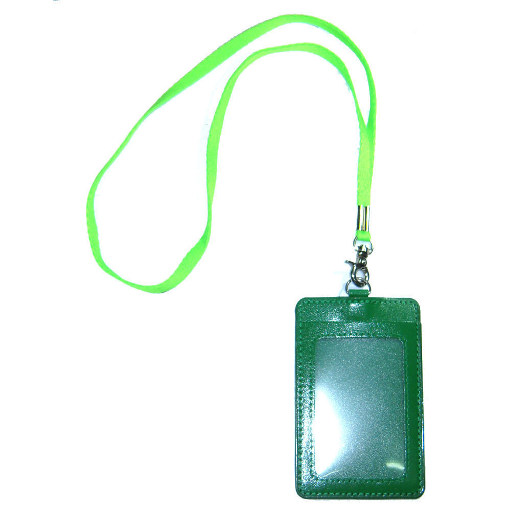 Primary image for ID Permit Pass Badge Card Holder Green Synthetic Leather + Neckstrap Lanyard