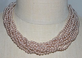 VTG New Old Stock ERWIN PEARL Silver Glass Bead Torsade Choker Necklace - $103.95