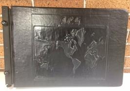 Antique Scrapbook Photo Album Black Leather Embossed  World Map Travel E... - $20.00